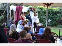 Hochzeitszeremonie in unserem Biergarten
